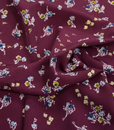 Tissu polyester - fleurettes shinny - Aubergine