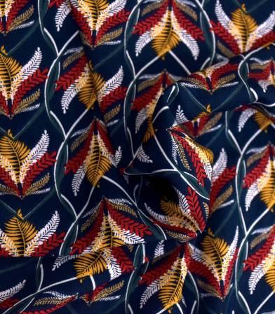 Tissu viscose Fougères - navy