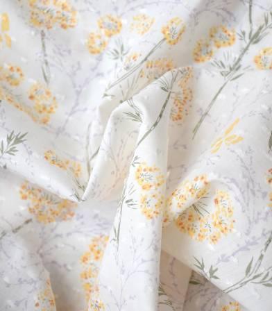 Tissu plumetis imprimé - Pissenlit - Off White