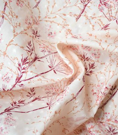 Tissu plumetis imprimé - Pissenlit - Petal Pink