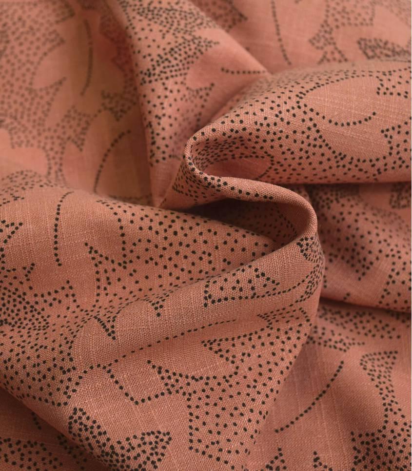 Tissu lin viscose - Flowers - Argile