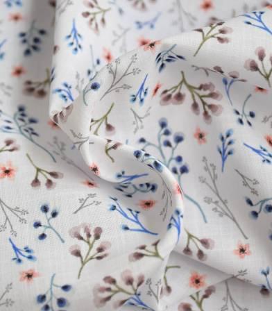Tissu voile de coton flamé - Fleurettes - Navy