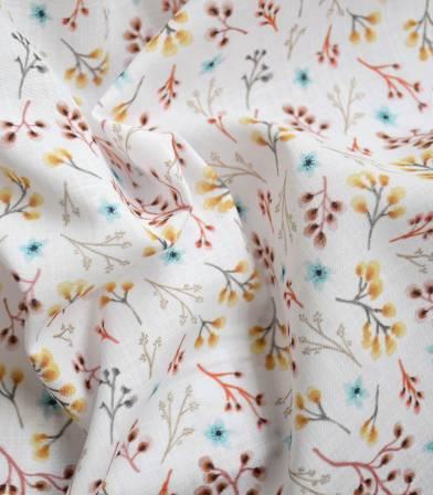 Tissu voile de coton flamé - Fleurettes - Ocre