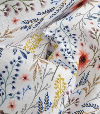 Tissu voile de coton flamé - Herbier - Clared red