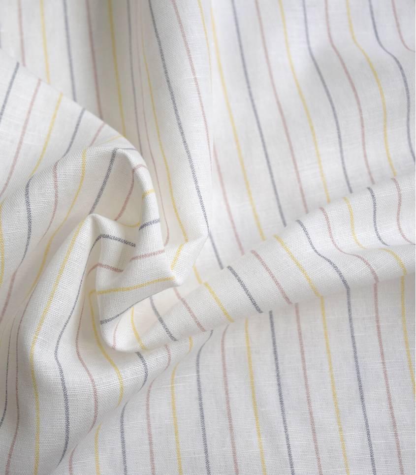Tissu lin coton - Rayures - Tricolore