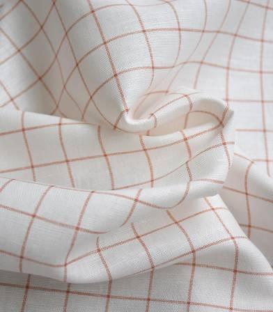 Tissu lin coton - Carreaux - Argile