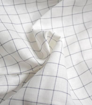 Tissu lin coton - Carreaux - Storm blue