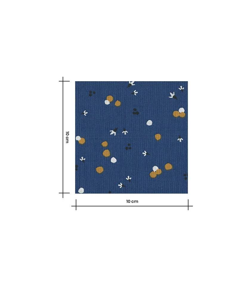 Tissu coton Nozbi - Bleu foncé/Camel
