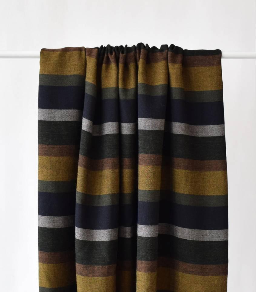 Tissu twill Stripes Mustard kaki
