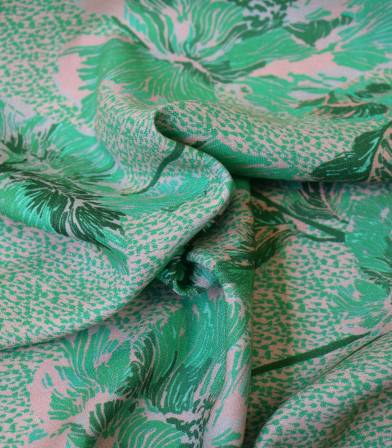 Tissu crêpe de viscose Pivoine - Vert