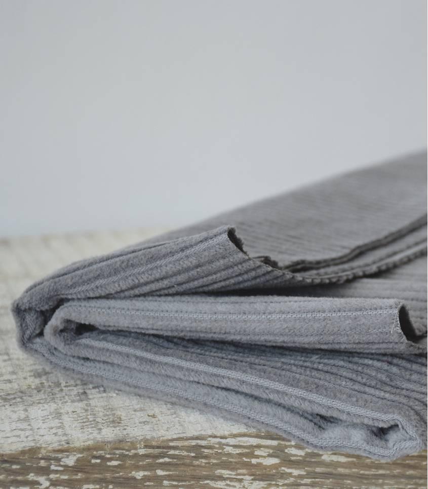 Tissu velours grosses côtes gris
