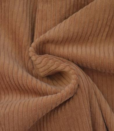 Tissu velours grosses côtes noisette