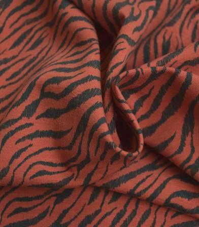 Tissu jersey Zèbre - Brique