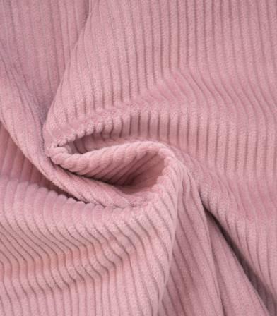 Tissu velours grosses côtes rose thé