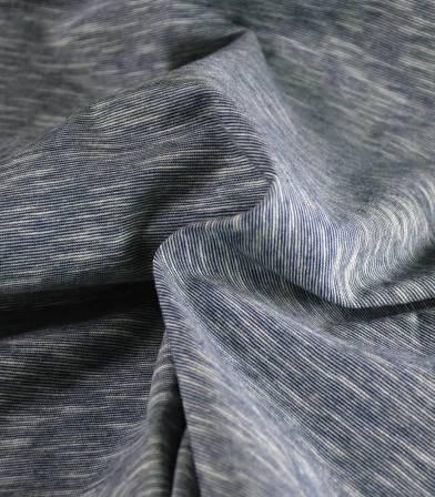 Tissu jersey coton - Mini rayures Navy