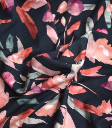 Tissu jersey viscose - Watercolor Dark grey