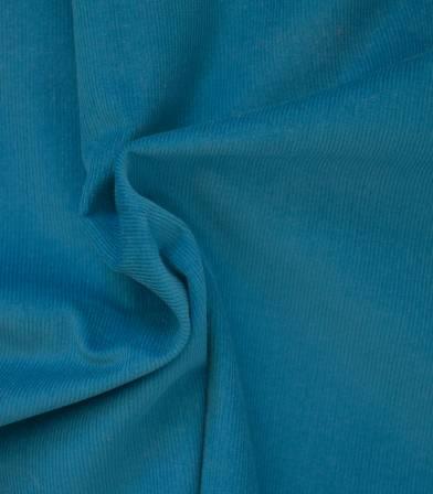 Tissu velours milleraies fin bleu paon