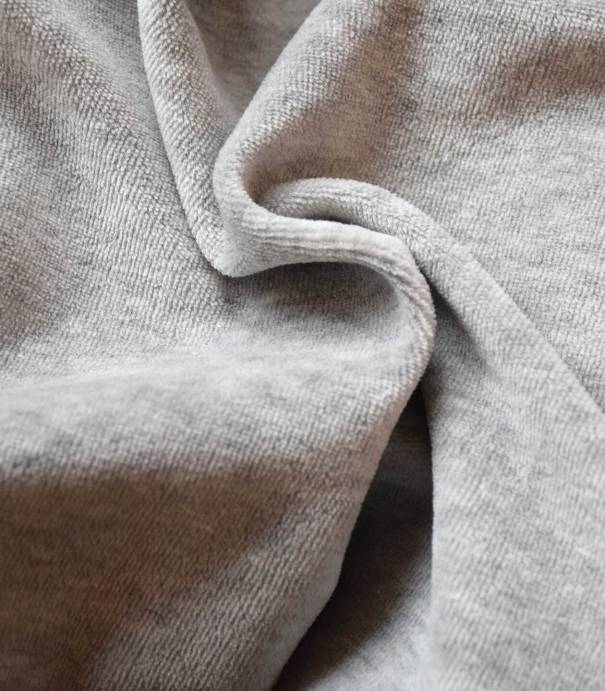 Tissu Jersey velours - Gris clair chiné