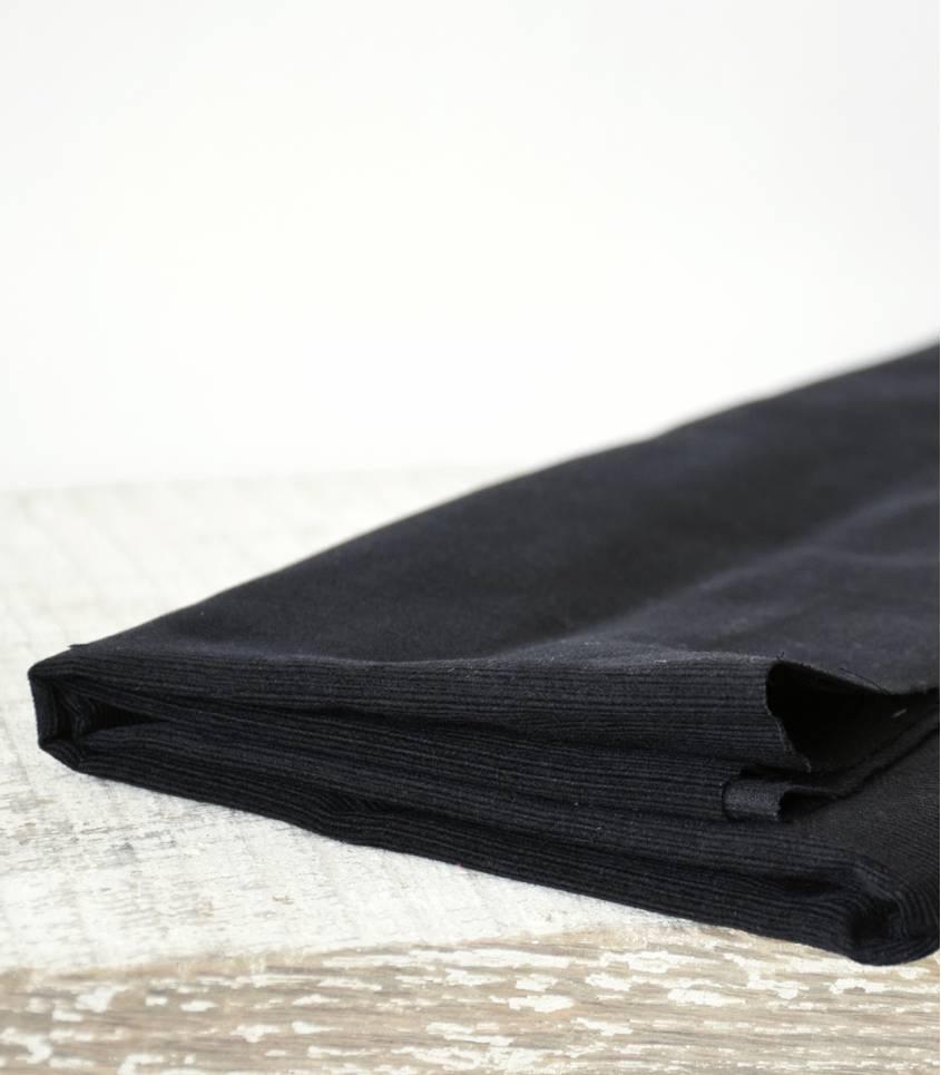 Tissu velours milleraies fin noir