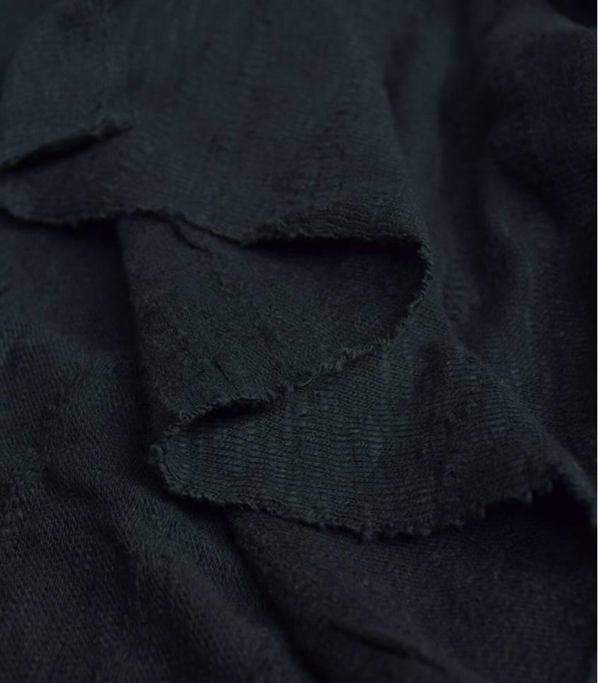 Tissu Jersey Bio - Jacquard Slub - Caviar