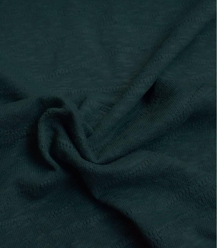 Tissu Jersey Bio - Jacquard Slub - Bottel green