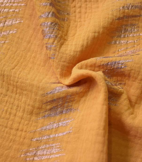 Tissu double gaze - Hot foil Mustard