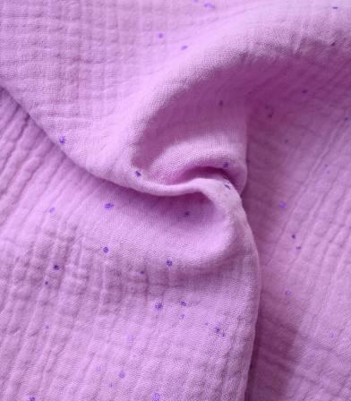 Tissu double gaze - Hot foil lilac