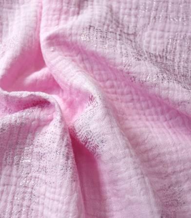 Tissu double gaze - Hot foil candy pink