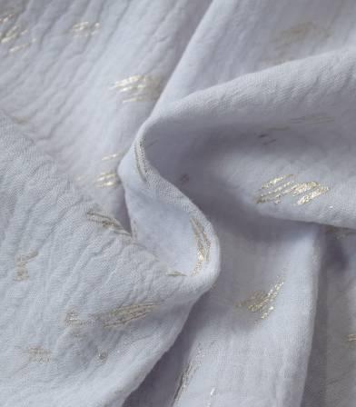 Tissu double gaze - Hot foil light grey