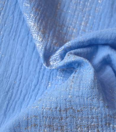 Tissu double gaze - Hot foil azur