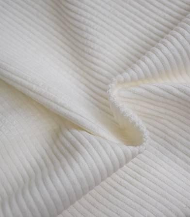 Tissu velours grosses côtes blanc cassé