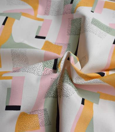 Tissu Canvas coton - Gold Abstract Pink