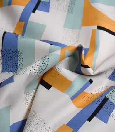 Tissu Canvas coton - Gold Abstract Aqua