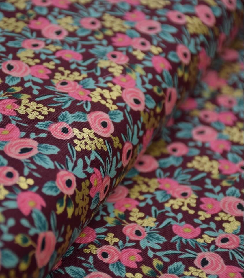 Tissu Wild rosa - Burgundy metallic