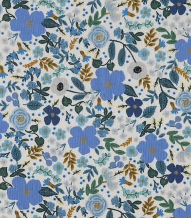 Tissu Wild rose- Blue metallic