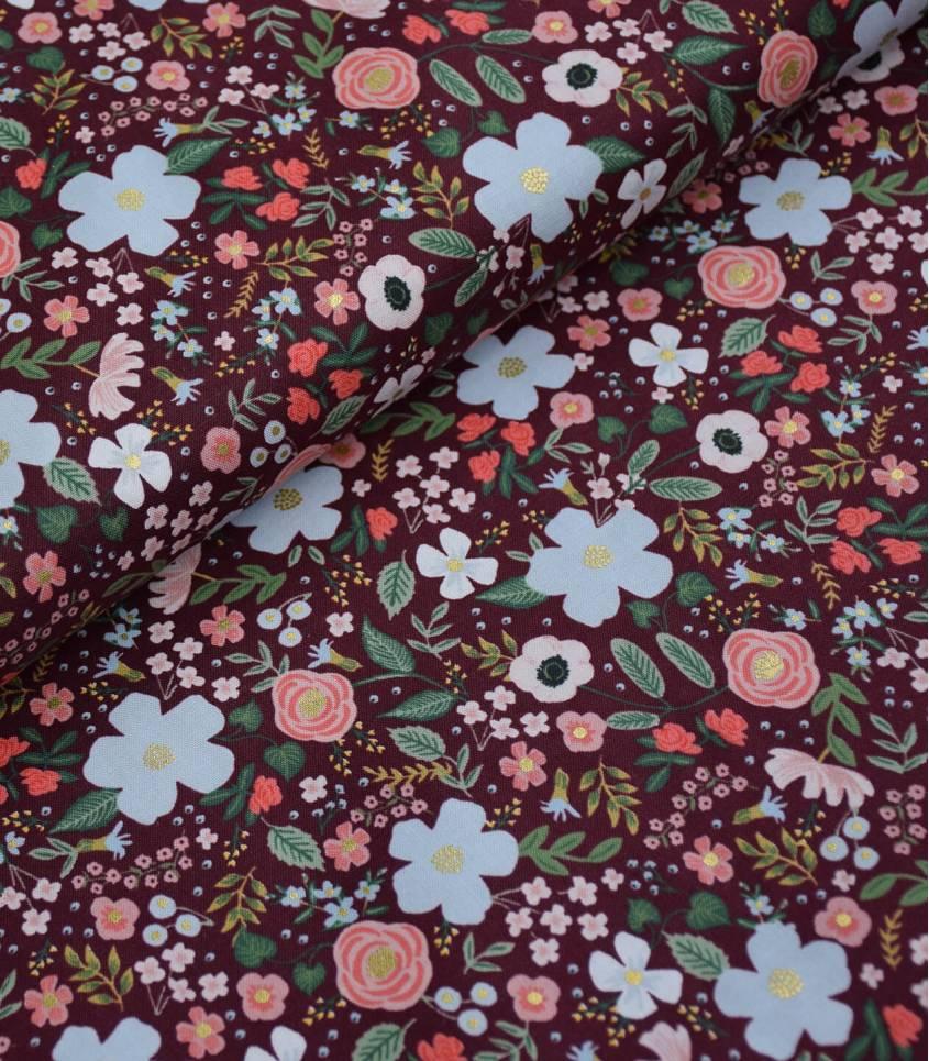 Tissu Wild rose - Burgundy metallic