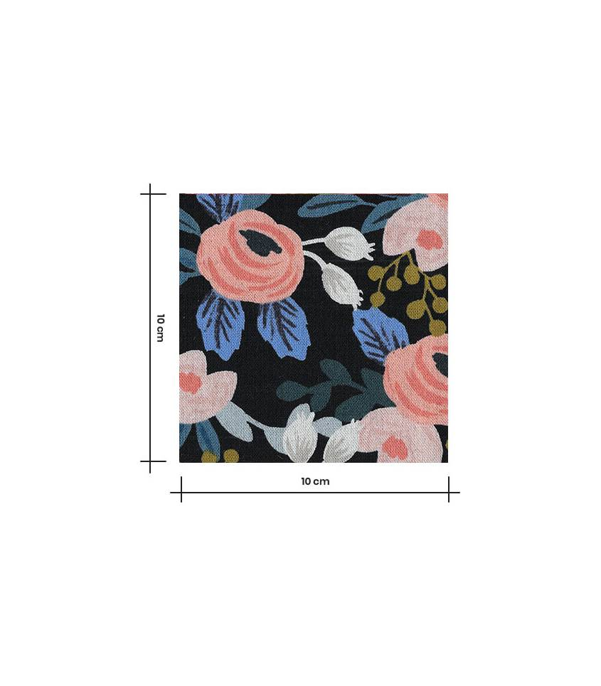 Tissu Canvas Rosa floral - black