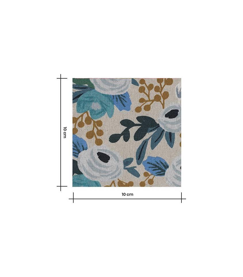 Tissu Canvas Rosa floral - Blue