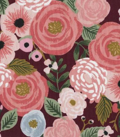 Tissu Canvas Juliet rose - Burgundy