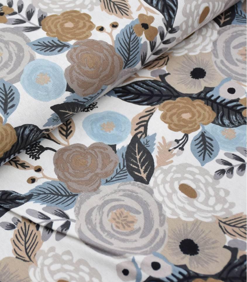 Tissu Canvas Juliet rose - Linen multi