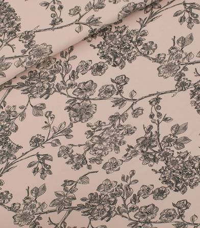 Tissu French terry Cherry Blossom - Pale pink