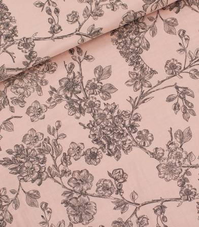 Tissu Double gaze Cherry Blossom - Pale pink