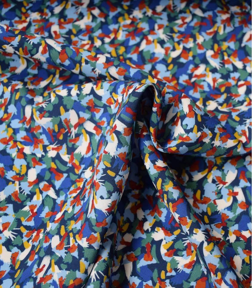 Tissu viscose Mess Flowers - Green blue
