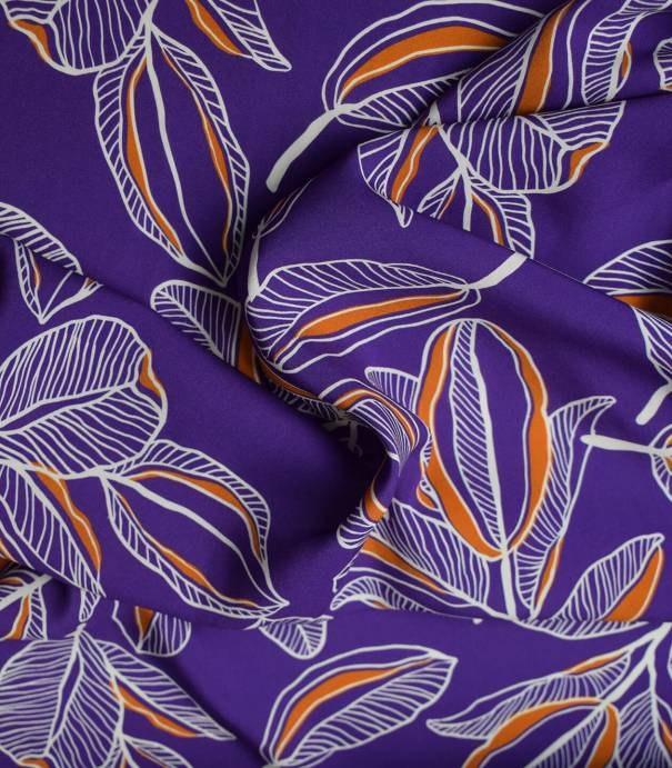 Tissu viscose Cacao flower - Purple