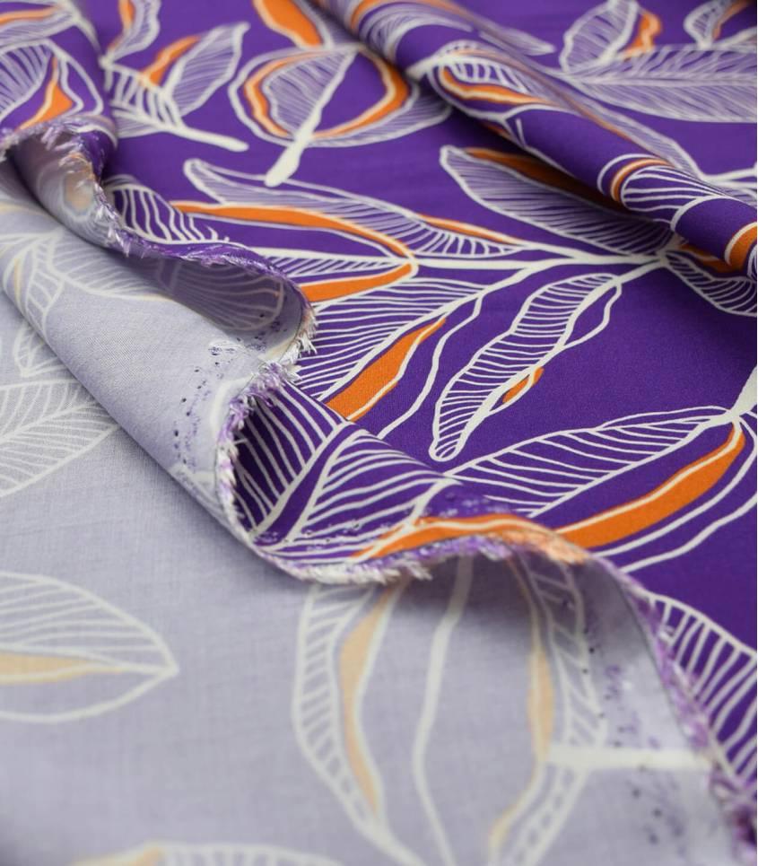 Tissu viscose Cacao flower - Purple