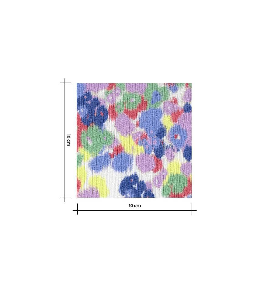 Tissu viscose crinkle Blurry flowers - lilas