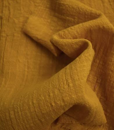 Tissu gaze de coton - Curry