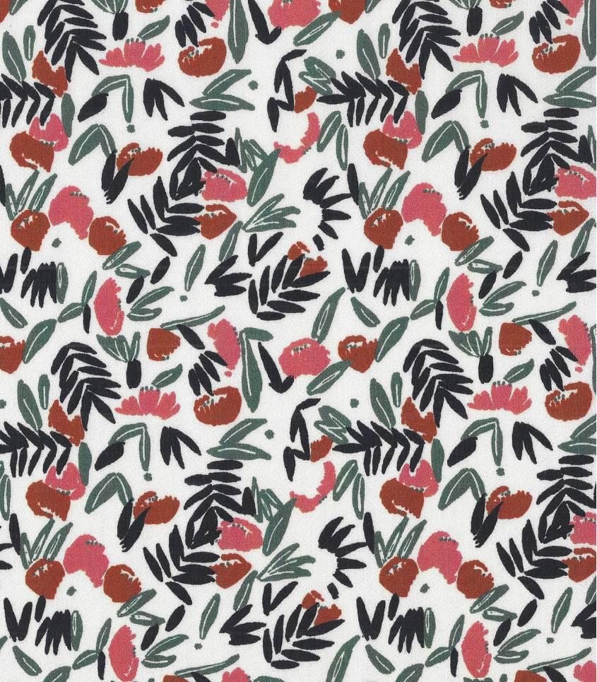 Tissu viscose Jungle de fleurs - blush