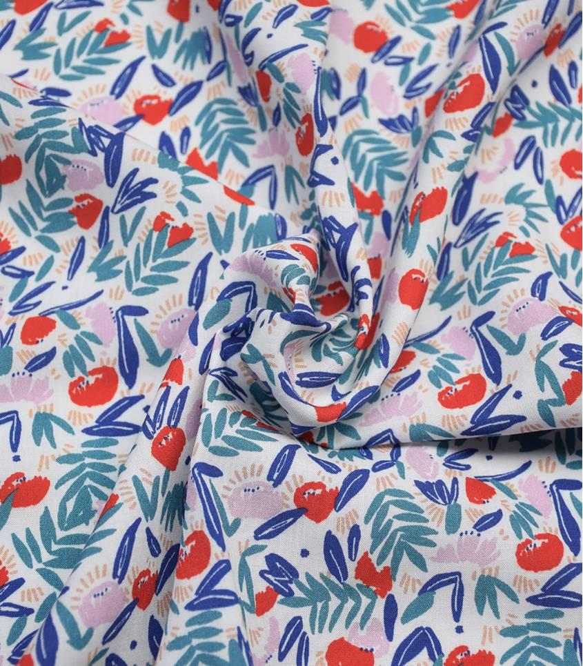 Tissu viscose Jungle de fleurs - red