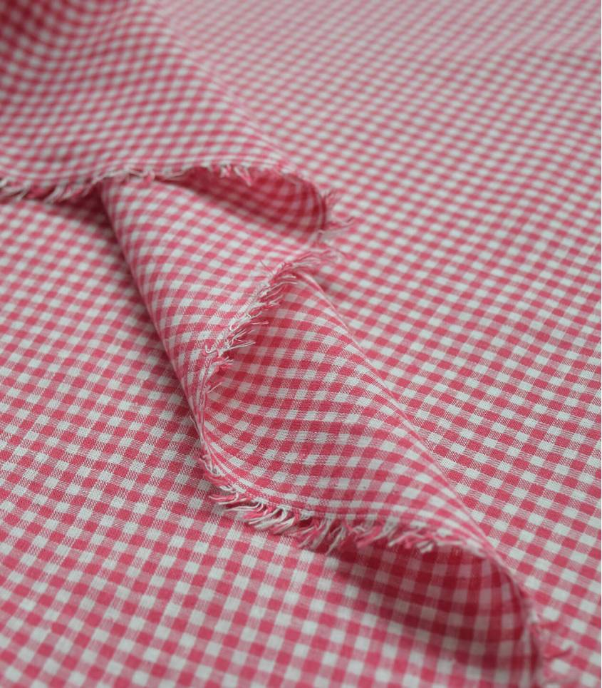 Tissu Lin coton vichy - rouge